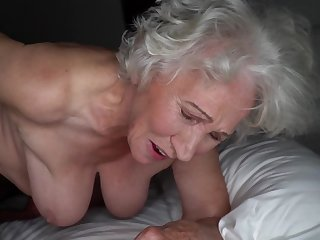 Grey-haired cunt of heavy granny gets pounded away from young stud