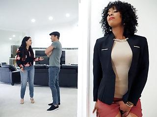 Ebony through-and-through stratum agent fucked client