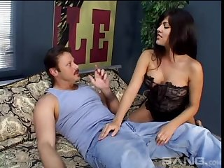 Busty brunette Latina babe gets fucked hard and her feature cum covered