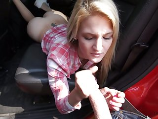 Ardent lovely buxom blondie Hope Harper gives BJ and gets fucked in rub-down the car