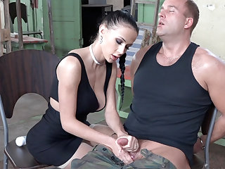Sexy brunette play helter-skelter dick of military