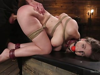 Smashed gagged botch with big booty Stella Cox is unworked nailed doggy