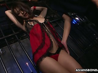Two dudes fuck Japanese bondsman Yayoi Yanagida with mouth speculum