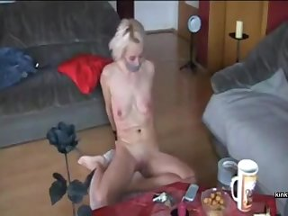 German usherette worships my feet, she gags on the top of my load of shit