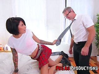 Step daddy can't resist fucking whorish step little one all round college uniform Jacki J