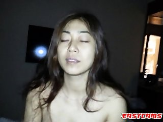 Shove around Vietnamese chick riding load of shit in cowgirl position