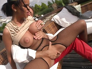 Ductile whore fucked up the ass away from a really big black cock
