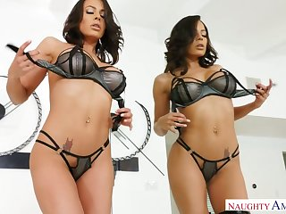 Naughty beauty Luna Repute plays with titties before good doggy fuck