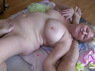 Hardcore threesome action with blowjob and huge mature boobs involving main role