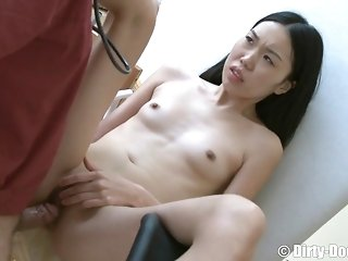 Immense fur covered doctor thrusts His firm man-meat In the air The smallish asian Dame's frowardness porn video
