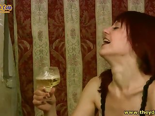 Redhead milf Afina gets drunk and enjoys gender hard with handsome tramp