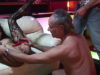 Venerable Libertines With Yam-Sized Spunk-Pumps Bang Obscene Striptease Female