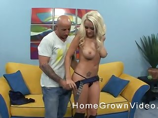 Busty tattooed blonde MILF in boots gets her tight pussy pounded