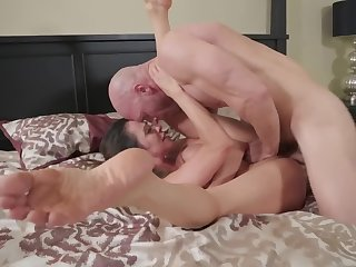 A emaciate bitch with huge tits is getting some dick inside her body