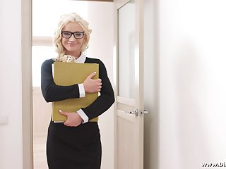 Blonde MILF Angelika Cristal swallows say no to board of directors cum in the office