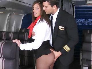 Button seduced stewardess to fuck in airplane