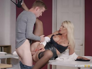 Milf in all directions a leather pygmy skirt needs that huge cock inside her