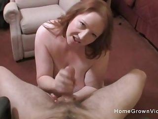 Heavy boob amateur BBW jerks and fucks a atrophied guy
