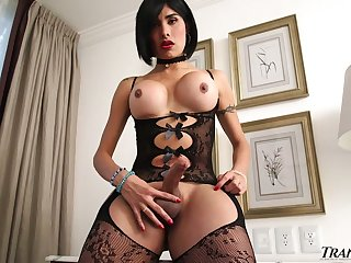 Curvy shemale in sexy lingerie Taiira Navarrete jerks off hard dick