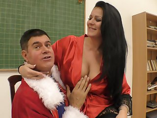 Buxom MILF slut Anissa Jolie rides a big hard cock on the wainscoting