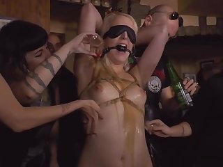 Blonde laconic tits slave anal fucked in bar