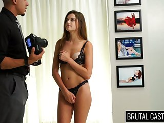 Babe with tied up limbs Alex Mae gets her mouth and pussy punished
