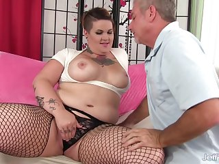 Pervy Old Man Cant Get Enough of BBW Nova Jades Curvy Tattooed Body