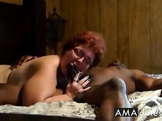 Cuckold  Amateur granny suck and fuck with outrageous man.