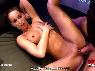 Tanned gangbang girl gets covered in hot cumshots