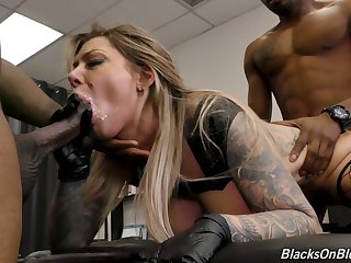 Wet cunt for marvelous huge breasted Kismet RX is stretched by black studs