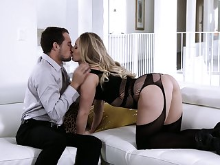 Wearing stunning black lingerie hottie AJ Applegate is made to ride heavy blarney