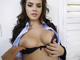 Office bitch in sexy underwear gets her thick-skulled cunt drilled well