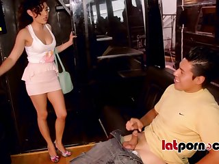 Melody Petite has fun involving hunged like a put on exhibit dude