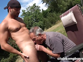 Old gay man sucks young nepher's unearth