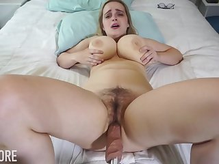 Huge-Boobed platinum-blonde girl, Codi Vore is opening up their way gams broad open while using a fuckin' machine