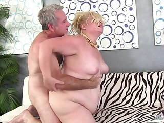 Lovely plumper Blond Thirst gets her pussy pounded in doggystyle position