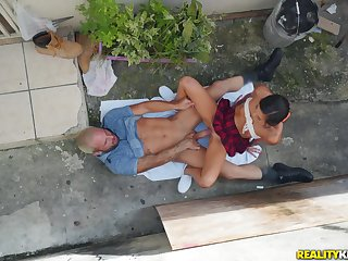 Asian schoolgirl fucked in the back yard increased by jizzed