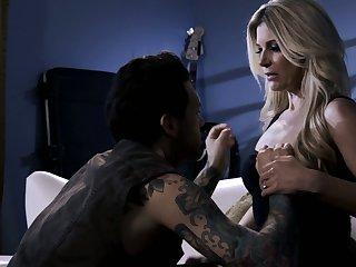 All tattooed stud penetrates soaking pussy of blazing blonde nympho India Summer
