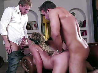 Cuckold husband sleety on by a blindfolded wife fucking an another guy