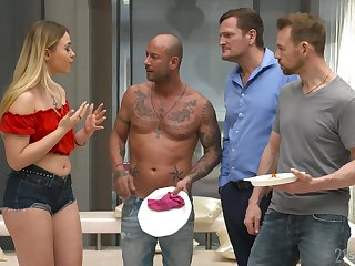 Wild shrew Selvaggia goes crazy at near hardcore gang bang with wild studs