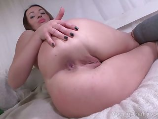 Before being analfucked lusty GF is avid to suck delicious cock