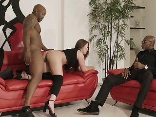 Two huge black dicks penetrate anus with the addition of pussy of bootyful colourless chick Maddy O'reilly