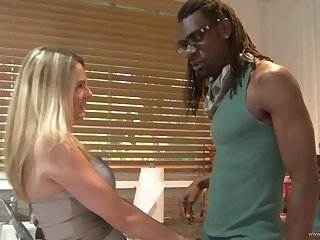 Bombshells with big bowels sharing a big malicious cock in an interracial FFM