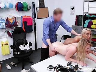 Security guy punishes shoplifting stepmom Kylie Kingston plus the brush yummy stepdaughter