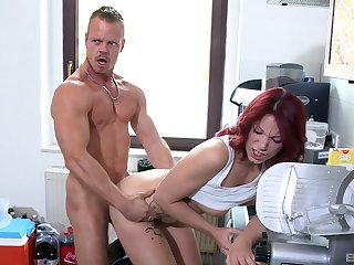 Redhead amazes with how tight she is and fucks in the balance exhaustion