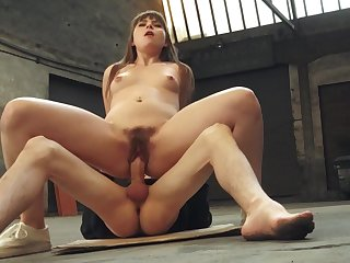 Supplicant throats the hot infant gear up cums on her A- tits