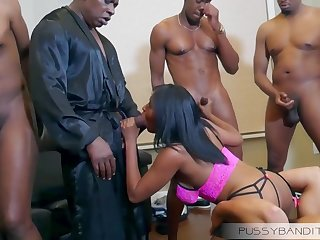cast off gangbang group sex orgy with busty ebony slut - big black cocks