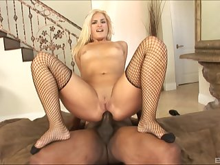 Lingerie clad vixen gets say no to pussy stretched with a big black cock