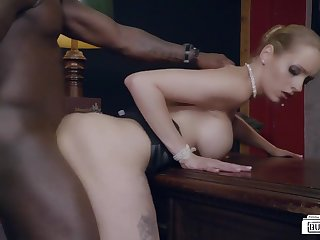 White German secretary sucks a hard dick of her black boss