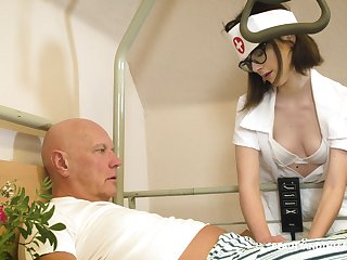 Snake-hipped nerdy nurse named Sara Bell is happy to give older man a blowjob